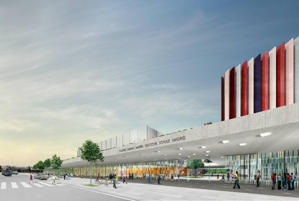 Deutsche Schule, hybrid architecture, ecosistema urbano, madrid, bioclimatic building,