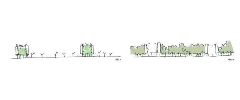Sketch, Eco-Boulevard in Vallecas, Madrid by Ecosistema Urbano