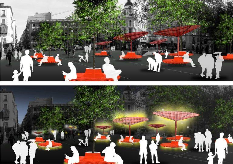 Bioclimatic improvement Strategy for public spaces, Madrid, Ecosistema Urbano, Comfortable public Spaces, Urban activation Strategies, bioclimatic public space
