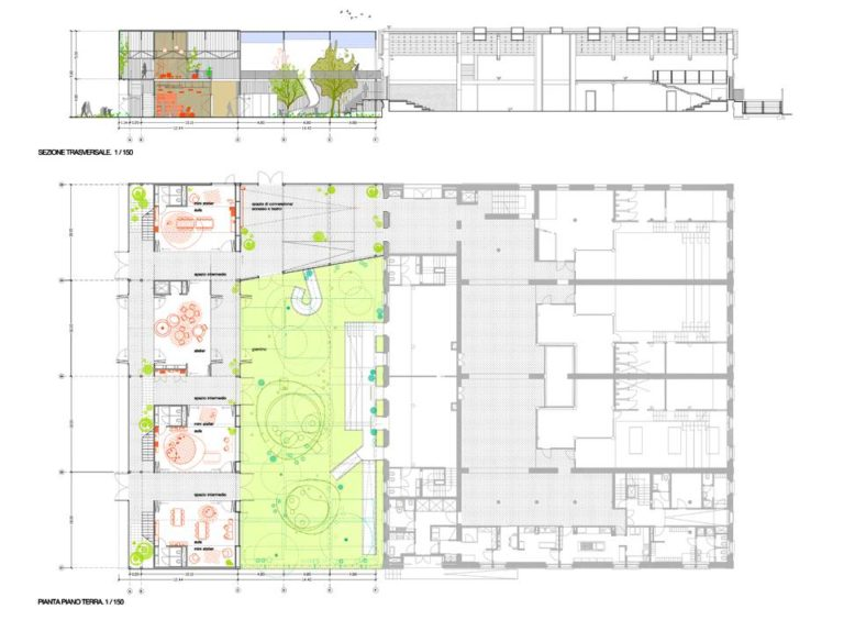 REGGIO-CHILDREN-SCHOOL-PLAN+SECTION, Ecosistema Urbano