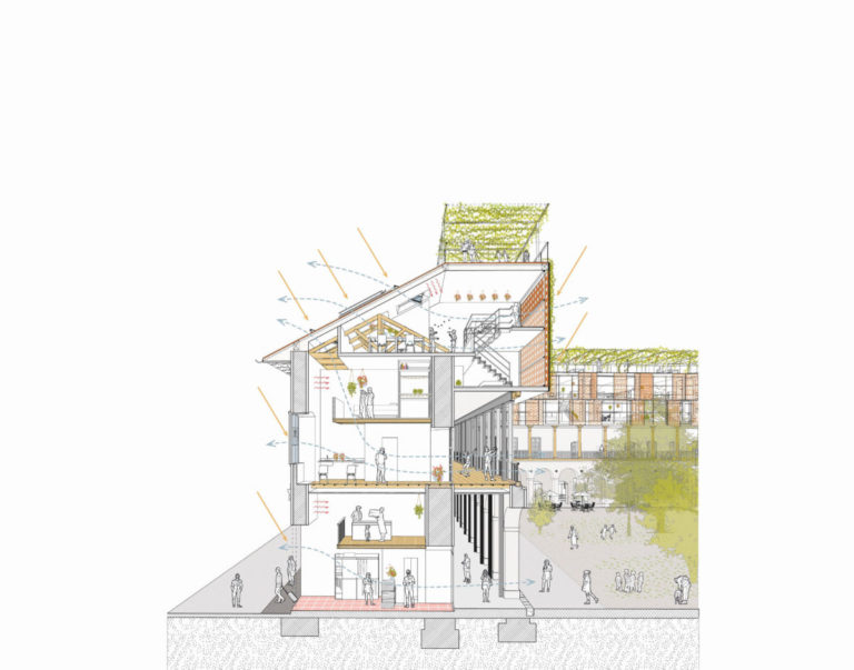 Section of the Historial building Febres Cordero by Ecosistema Urbano
